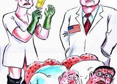 ИЗБОРИТЕ. КАПИТАЛИСТИТЕ от БСП нямат КАДРИ да управляват, а и няма с кого, но през изборите могат да затрият частното БКП на БАНДИТА и изпратят: БАНДИТА при Доган, 6-те апартамента – да се моли в Америка, ЧЕРНАТА ЯНКА – да учи ГЕОГРАФИЯ и БЪЛГАРСКИ ЕЗИК, МАМАТА им – в Плевен, ЗАХАРИНКА – да мие чинии в чужбина, ДЕСИСЛАВАТА – да копа на село, ГЪРНЕТО – да пише стихове за БКП, ВЕЖДАТА – да се налива с уиски Мултак, БИКЪТ ТРАВЕСТИТ… Само НАРОДЪТ може да спре ГЕНОЦИДА, като свали БАНДИТА и то единствено, ако излезе МАСОВО да ГЛАСУВА